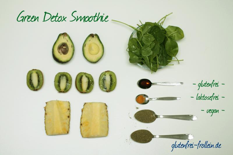 Green Detox Smoothie Zutaten glutenfrei laktosefrei vegan