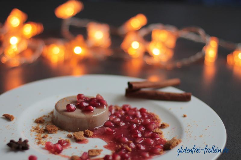 veganes panna cotta mit spekulatius und granatapfel