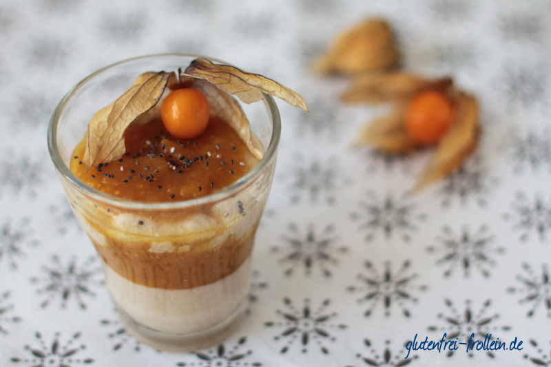 Amaranth Pudding mit Physalis-Apfelmus