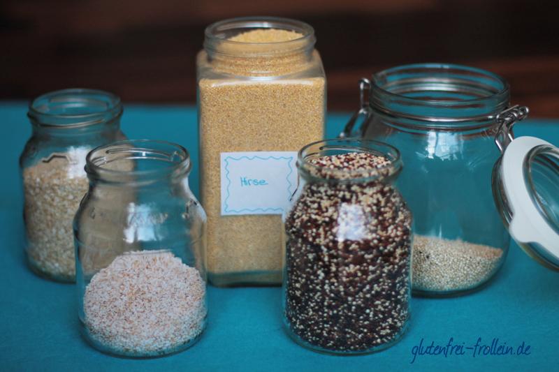 glutenfreies Getreide_verschiedene Sorten im Glas