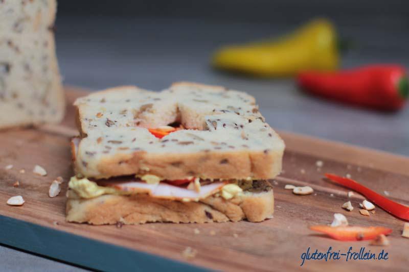 glutenfreies Pausenbrot mit Curry und Haehnchen_nah ausgestochen