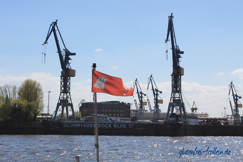 Hafenkräne mit Hamburger Fahne